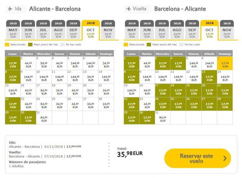Vuelos baratos Alicante Barcelona