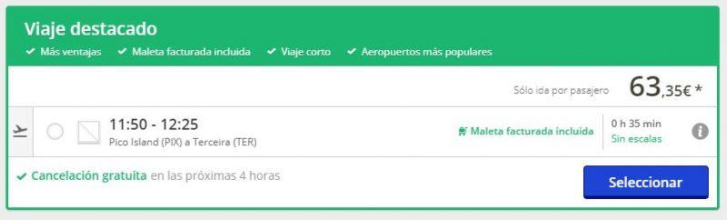 Vuelo barato de Pico a Terceira