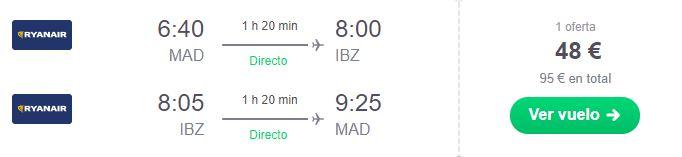 Vuelos para viaje barato a Ibiza en agosto