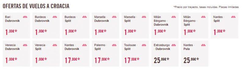 Vuelos 1 euros Croacia