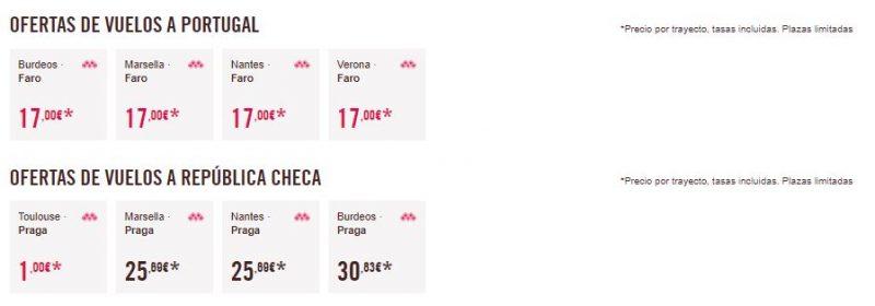 Vuelos 1 euro Portugal y República Checa
