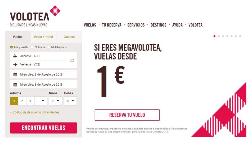 Vuelos 1 euro Volotea