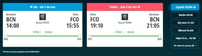 Vuelos baratos para viaje a Roma en noviembre