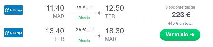 Vuelos directos Madrid-Terceira