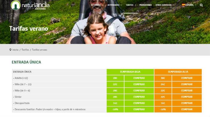 Tarifa oficial Naturlandia Andorra