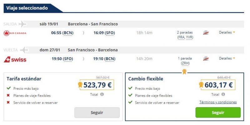 Vuelo barato de ida y vuelta Barcelona-San Francisco