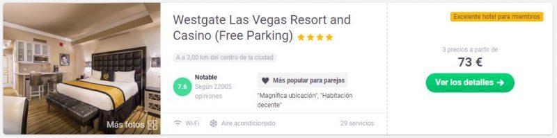 Hotel con tarifa error en Las Vegas