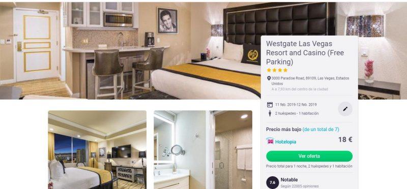 Tarifa error en un hotel de 4 estrellas en Las Vegas