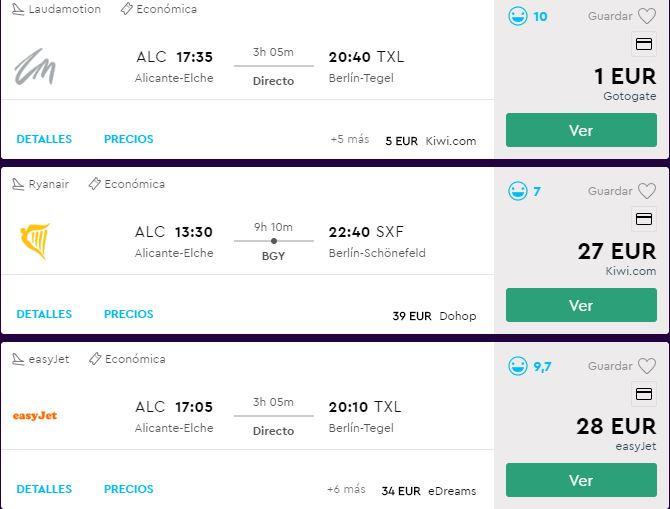 Vuelo 1 euro Alicante-Berlín