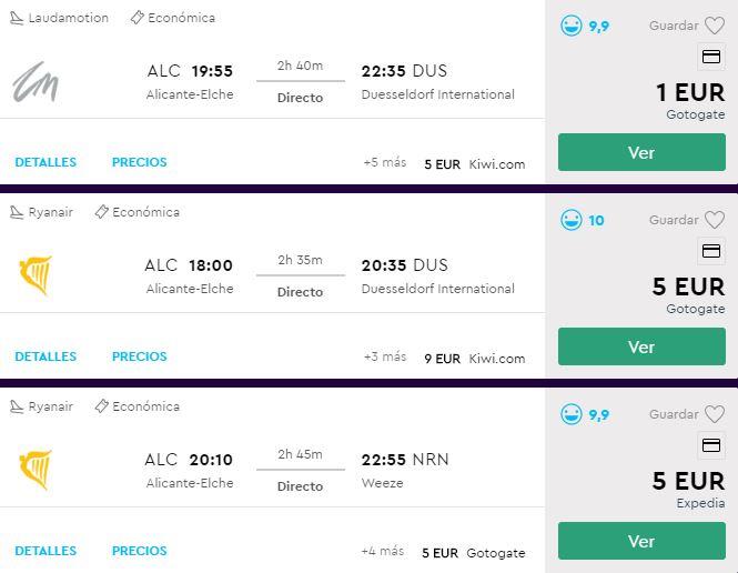 Vuelos a 1 euros Alicante-Dusseldorf