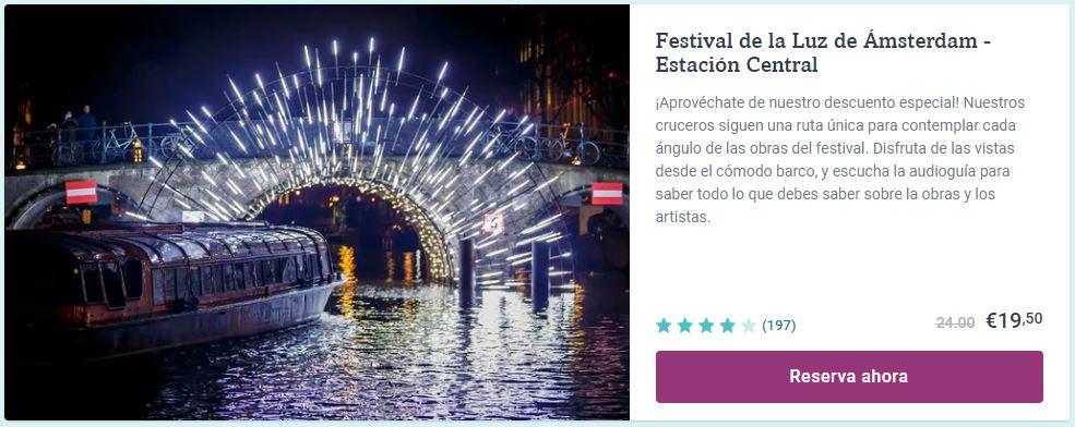 Festival de la Luz en Amsterdam en crucero desde la Estación Central