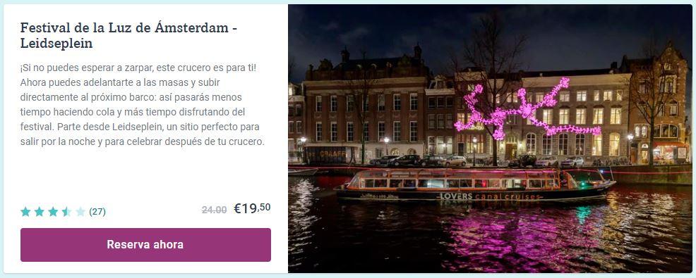 Festival de la Luz en Amsterdam en crucero desde Leidseplein