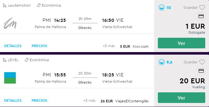 Vuelo 1 euro Palma-Viena