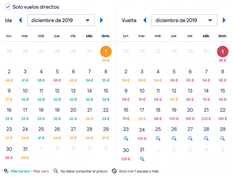 Vuelos Barcelona-Amsterdam en diciembre de 2019
