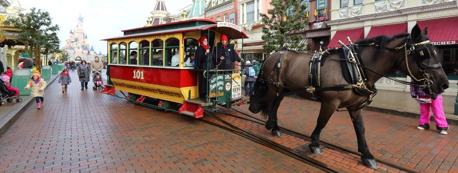 Horse Drawn Streetcars Disneyland Paris